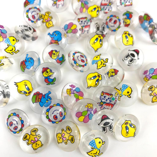 Clear glass button with children characters printed on the dome. Includes Elephants, balloons, tweety pie, casper the ghost and more.