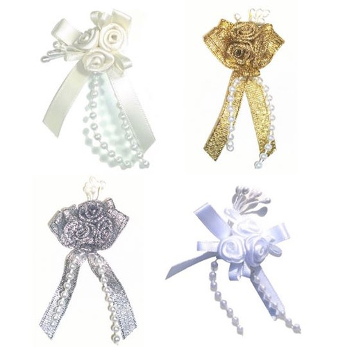Ribbon roses in triple cluster with pearl beading available in four colours with self colour beads.