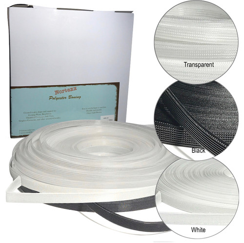 Polyester boning provides shape and structure to strapless garments, lingerie, soft toys and many forms of dressmaking and tailoring.