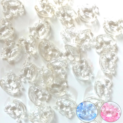 Plastic rocking horse beads / pendant. Available in clear, blue and pink. 100 beads total.