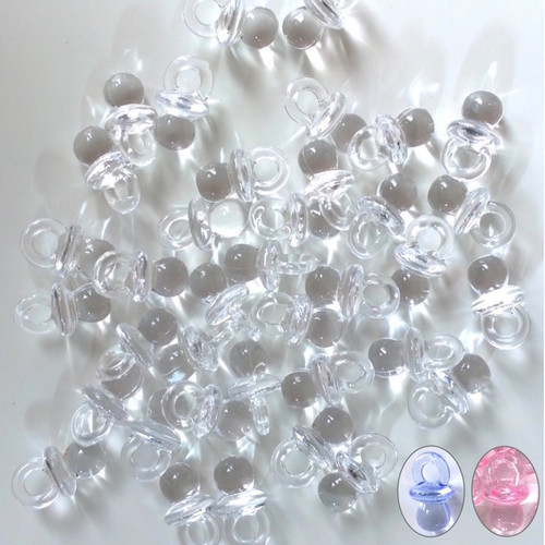 Clear plastic dummy beads in clear, blue and pink. 100 beads per packet.