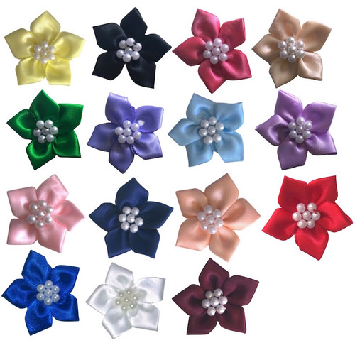 Satin ribbon flowers with five petals and beaded centre in a selection of colours.