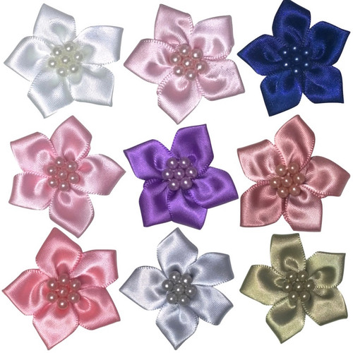 Satin ribbon flowers with five petals and same colour pearls in the centre. Selection of colours available.