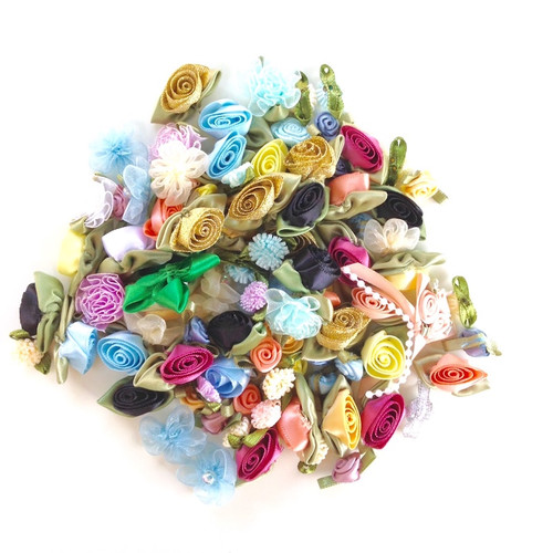 100 assorted ribbon roses.