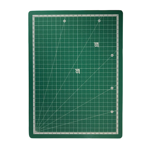 A4 self healing cutting mat with ruler edge and printed cutting guide.