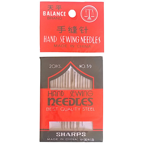 20 sharp hand sewing needles in a red and white package.