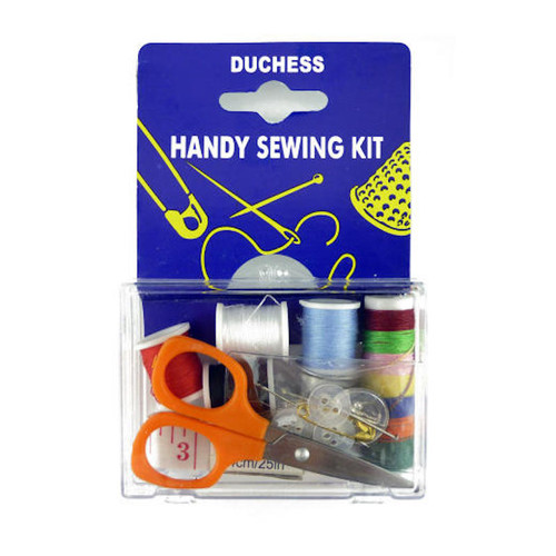 Small hand sewing kit contained in clear plastic hinged box with small scissors, thread, button, sewing needles, tape measure and safety pin.