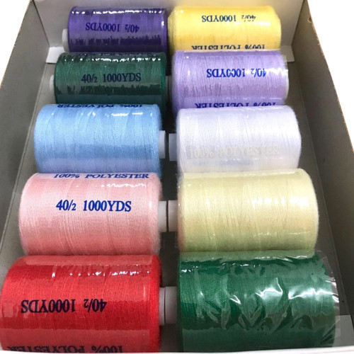 Spun polyester sewing thread on 1000 yard spools in a selection of ten colours.
