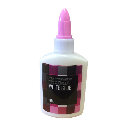 White PVA glue in 60g bottle with pink lid.