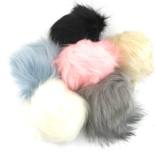 Fake fur pom pom balls with loop. Six colours available.