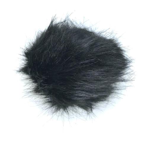 Black fake fur pom pom balls with loop.