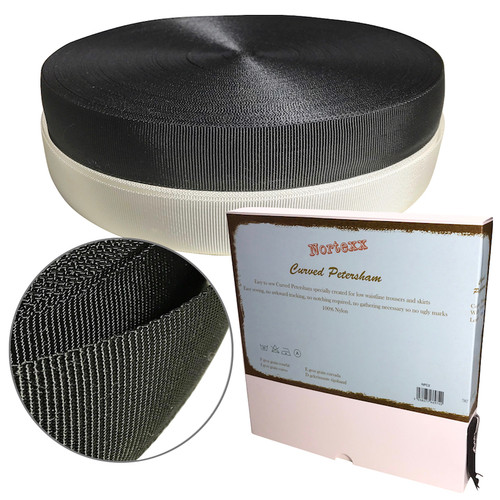 Curved Petersham Unboned is a grosgrain woven Petersham tape. Available in a box of 40mts or per meter in black or white.