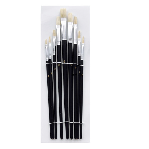 Flat bristle artist brush set with 9 brushes.