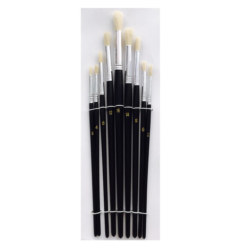 Black handled round head paint brush set with nine paint brushes.