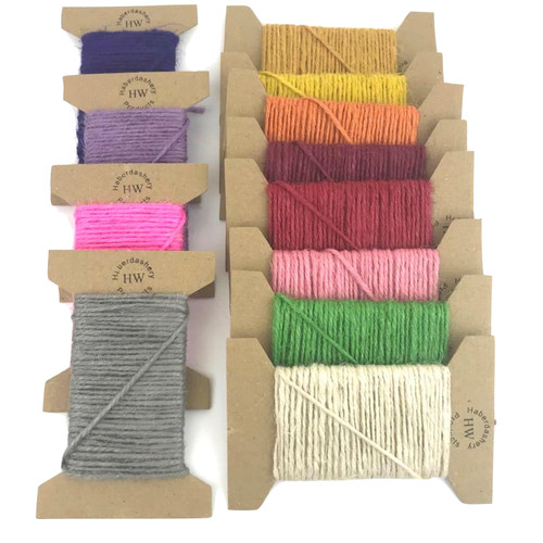Jute cord in a variety of colours on a  10 meter card.
