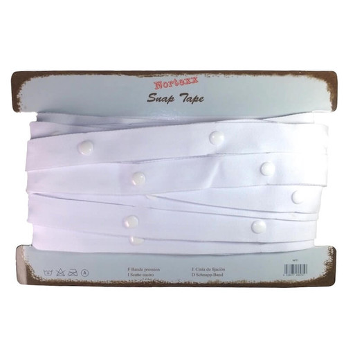 White popper tape with white snaps on a polyester tape.