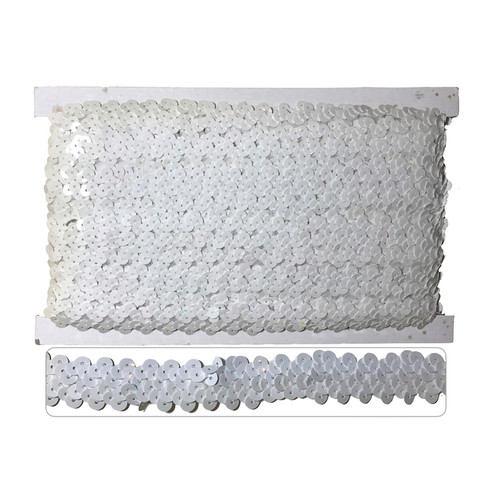 White sequin trim, elasticated to make garment sewing and movement easy. On a 10 meter card.