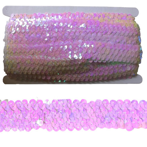 Mother of pearl white sequin trim, elasticated to make garment sewing and movement easy. On a 10 meter card
