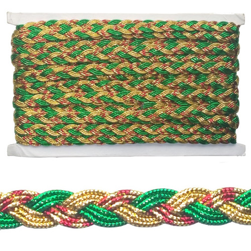 Plaited metallic  braid in gold, red and green on a card of 12 meter.