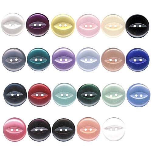 Fish eye buttons used traditionally on knit wear, baby wear, shirts and dresses.