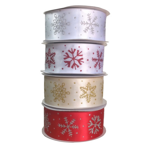 Snowflake glitter ribbon in red, white or gold. 10 meter rolls.