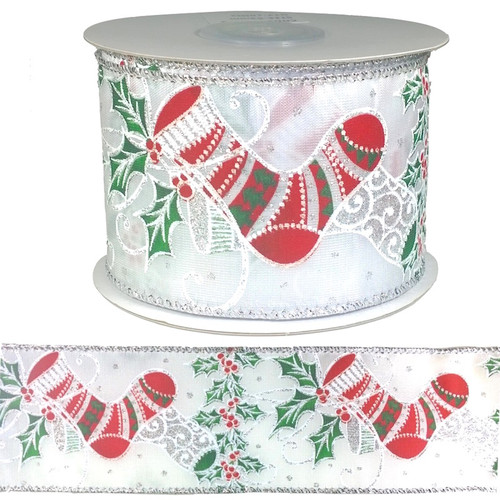 Red Christmas stocking with green holly on white ribbon with wire edging on a 10 meter roll.
