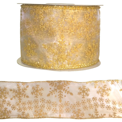Gold glitter snowflakes festive ribbon on a 10 meter roll.
