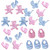 Tiny baby motifs in pink or blue, each pack has 5 tiny motifs in silky polyester satin.