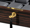 VOLTA EBONY WOOD 8 WATCH CASE WITH GOLD ACCENTS (BLACK LEATHER INTERIOR)