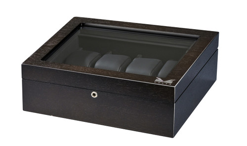 VOLTA RUSTIC BROWN 8 WATCH CASE WITH SEE THROUGH TOP