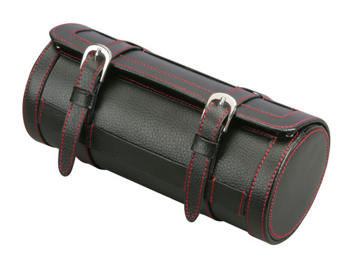Diplomat Black Leatherette Travel Roll with Red Stitching and Black Suede Interior for 3 Watches