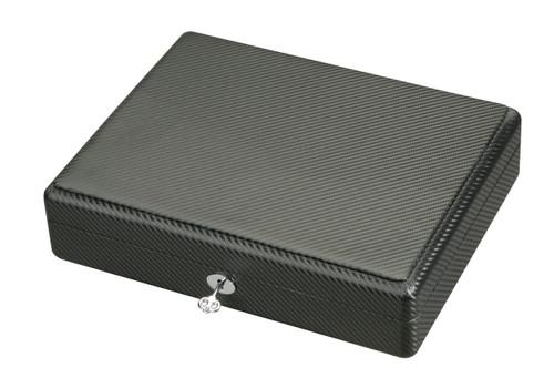 Diplomat Black Carbon Fiber Pattern Eighteen Watch Case with Black Suede Interior