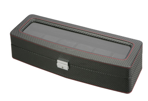 Diplomat See Through Black Carbon Fiber Pattern Six Watch Case with Red Stitching and Black Suede Interior