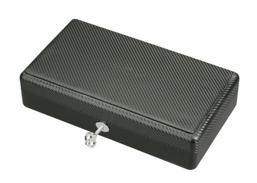Diplomat Black Carbon Fiber Pattern Twelve  Watch Case with Black Suede Interior