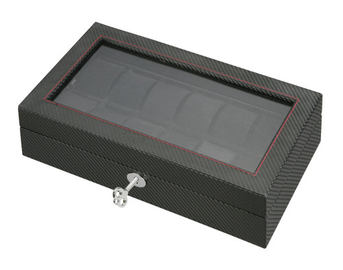Watch Case | Diplomat See Through Black Carbon Fiber Pattern Twelve Watch Case with Black Suede Interior