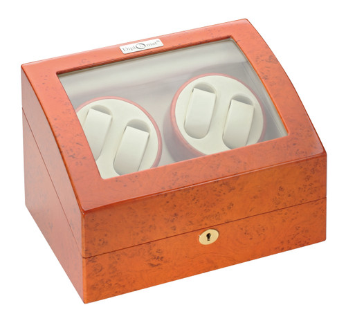 Quad Watch Winder | Diplomat Estate Burlwood Finish