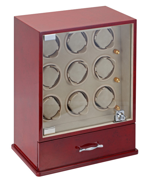 Diplomat Estate Cherry Wood Finish Nine Watch Winder with Cream Interior and Additional Storage for 10 Watches and Smart Internal Bi-Directional Timer Control