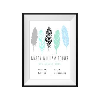 Feathers Birth Print