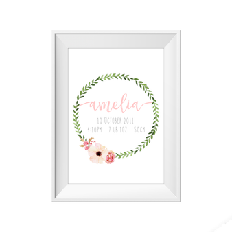 kids print wall décor art nursery art babys room décor whimsical pictures inspirational words birth print customised bespoke birth details green wreath leaf motif