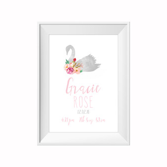 kids print wall décor art nursery art babys room décor whimsical pictures inspirational words customised bespoke birth details flowers floral watercolour motif