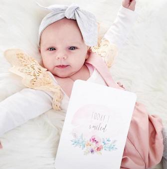 baby milestone card sets  watercolour flower motif watercolour flower motif