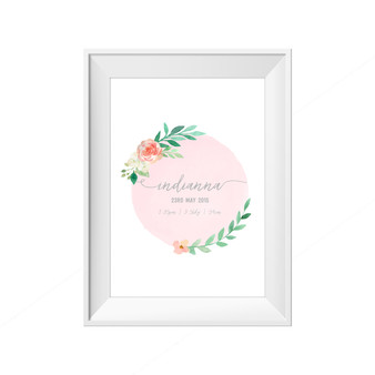 kids print wall décor art nursery art babys room décor whimsical pictures inspirational words birth print customised bespoke birth details pink flowers motif