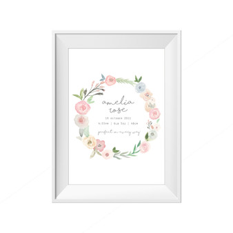 kids print wall décor art nursery art babys room décor whimsical pictures inspirational words customised bespoke birth details watercolour leaf wreath motif