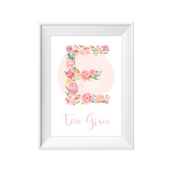kids print wall décor art nursery art babys room décor whimsical pictures inspirational words customised bespoke flowers initial letter motif