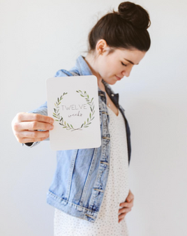 pregnancy milestone card sets  leaf wreath motif leaf wreath motif