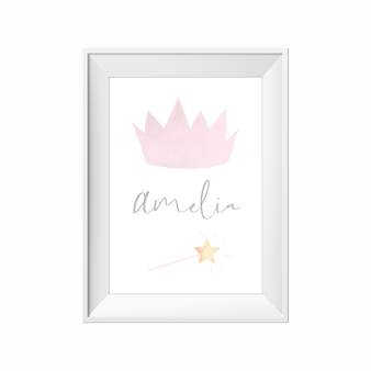 kids print wall décor art nursery art babys room décor whimsical pictures inspirational words customised bespoke princess crown motif