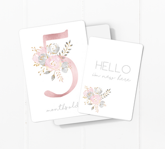 baby milestone card sets  flower motif