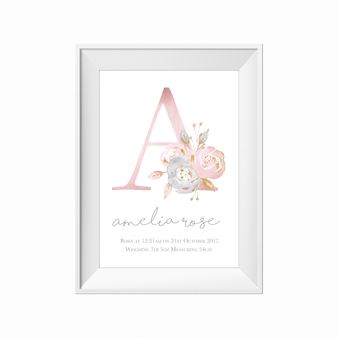 kids print wall décor art nursery art babys room décor whimsical pictures inspirational words customised bespoke birth details floral letter motif