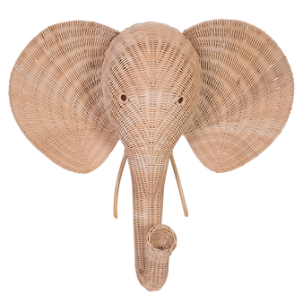 Rattan Elephant Wall Décor