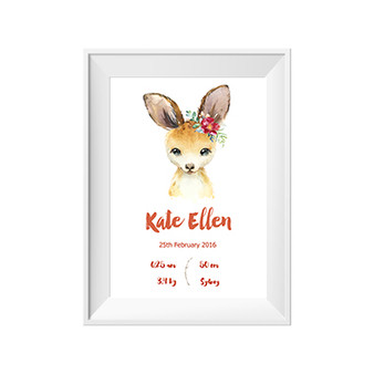 Kangaroo Personalised Birth Print